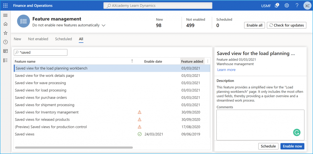D365FO Feature Management workspace Filtered Saved views