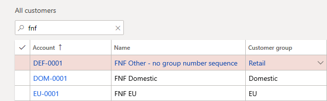 D365FO custom Number Sequence per Customer group customers created with custom Number Sequence per Customer group