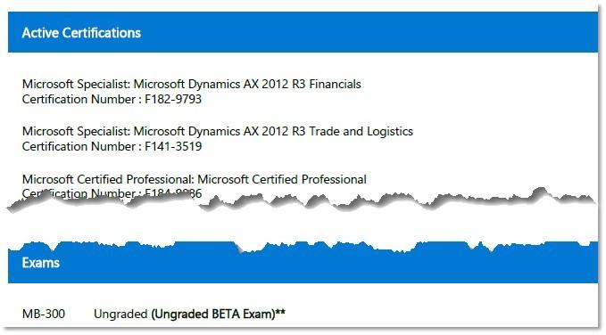 Microsoft Transcript example AX 2012 MB 300