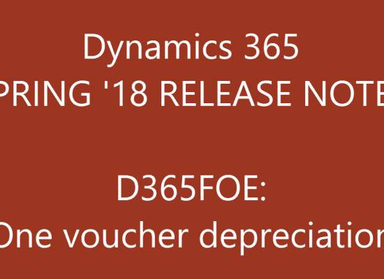 D365FO One voucher depreciation